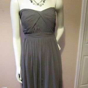 Jenny Yoo Emmie sz 16 Grey Chiffon Strapless Dress